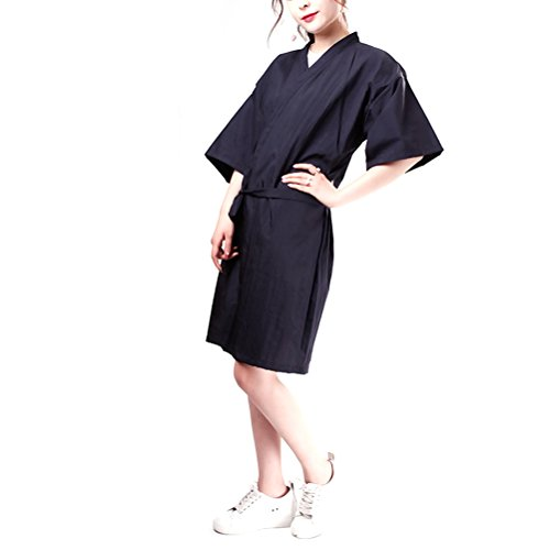 Lurrose Bata de Peluquería Salones de Salón para Clientes Estilo Kimono (negro)