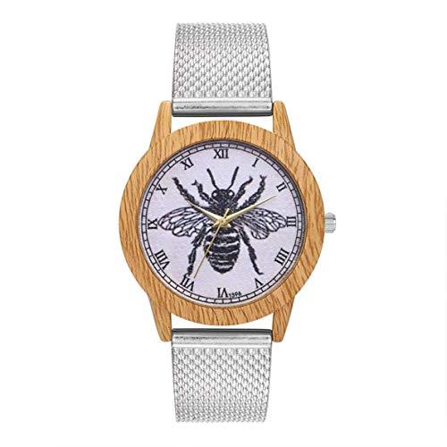 FENGMEI Cuarzo con Encanto Reloj Elegante Casual de Las señoras Redondo Grande del Reloj de la joyería Accesorios DecorationT396-F, Color: Rosa de Oro (Color : Silver)