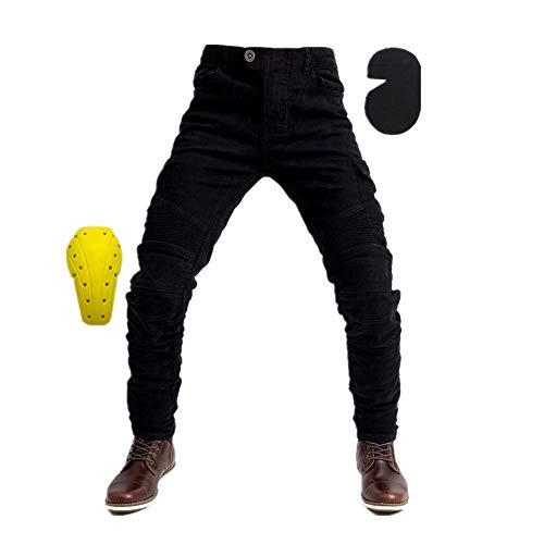 TIUTIU heren motorfiets rijjeans broek, motocross racebroek met 4 afneembare beschermkussens die in elk seizoen kunnen worden gedragen. 3XL zwart