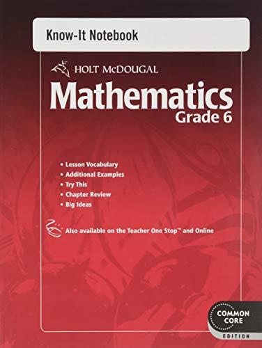Holt Mcdougal Mathematics Know It Notebook Grade 6