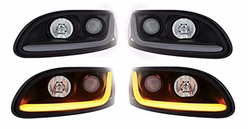 United Pacific Pair Blackout Projection Headlights w/Dual Function LED Light Bar for Peterbilt
