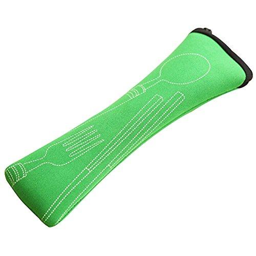bluelans® 3 pièces en acier inoxydable (, baguettes, fourchette, cuillère) portable Voyage/Camping Set de couverts avec étui en néoprène vert Vert