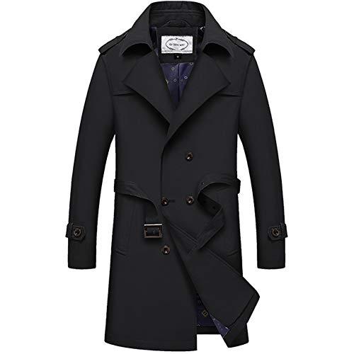 JIANYE Trench Coat Uomo Giacca Lungo Classico Leggero Cappotto Trench vestibilità Slim Trench con Cintura Nero 4XL