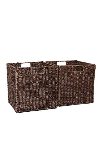 Vivanno 2 Regalkorb Schrankkorb Seegras für IKEA Kallax/Expedit braun