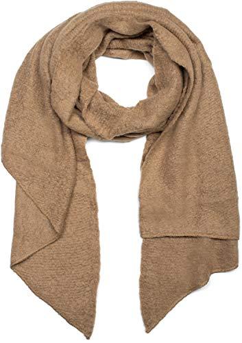 styleBREAKER Damen weicher unifarbener Web Schal in asymmetrischer Form, Winter, Stola 01017118, Farbe:Hellbraun