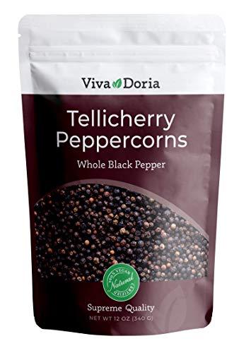 Viva Doria Tellicherry Peppercorn, Steam Sterilized Whole Black Pepper, 12 Oz Black Peppercorns For Grinder Refill