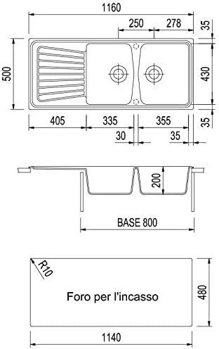 Fregadero Plados Spazio 116.20/de doble seno y escurreplatos