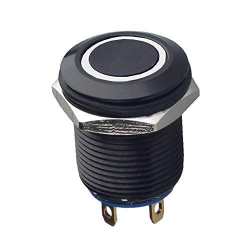 Mintice™ Étui noir 12mm Lumière blanc de LED 2A Momentané Bouton poussoir Interrupteur Acier inoxydable Imperméable Voiture Bateau