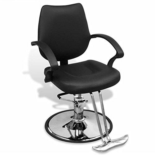 Silla de peluquería profesional marco de hierro cromado + Sellerie en piel artificial (60x 84x (90-100) cm (L x P x H) negro silla de salón de belleza