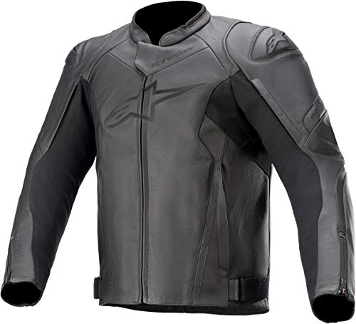 Alpinestars Faster V2 - Chaqueta de piel para moto, color negro, talla 48