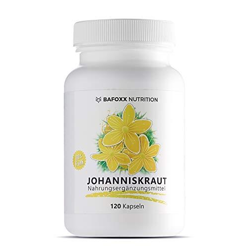 BAFOXX Nutrition® Johanniskraut Kapseln hochdosiert - 120 Stück für 4 Monate - Naturprodukt mit 400 mg Johanniskraut Pulver - vegan und ohne Zusatzstoffe - deutsche Markenqualität