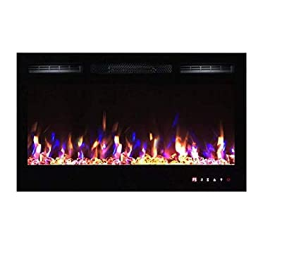 TruFlame 2020 NEW PREMIUM PRODUCT 36inch Black Wall Mounted Electric Fire with 3 colour Flames and can be inserted (Pebbles, Logs and Crystals)