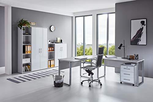 moebel-dich-auf.de Büromöbel Komplettset TABOR PRO 4 in diversen Farbvarianten (lichtgrau/weiß Hochglanz)