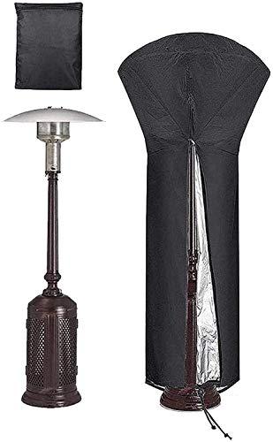 LAZNG - Cubierta redonda para calentador de patio con cremallera y lazos de tela, cubierta impermeable para muebles para exteriores (tamaño: 228 x 106 x 70 cm)