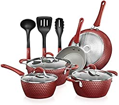 NutriChef Non-stick Kitchenware Pots & Pans - 11 Pcs. Stylish Kitchen Cookware Set w/Elegant Diamond Pattern, Gray Inside & Red Outside, Metal, Silicone Handle, PTFE/PFOA/PFOS Free