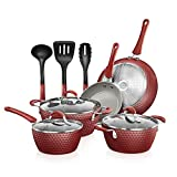 NutriChef Non-Stick Kitchenware Pots & Pans-11 Pcs. Stylish Kitchen Cookware Set w/Elegant...