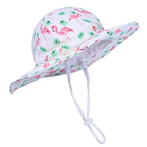 Funnycokid Mädchen Sonnenhut UPF 50+ UV-Schutz Lustige Flamingo Grafik Baby Jungen Sommerhut Kappen (0-24 Monate)