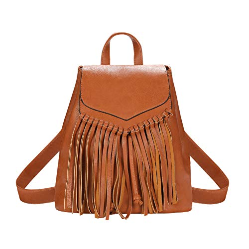 Zebella Leather Backpack Purse for Women Tassel Casual Rucksack Lightweight Daypack Travel Hobo Bag