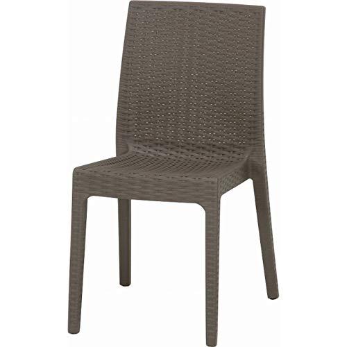 ガーデンチェアー ラタン調 2脚 セット 屋外 庭 イタリア カフェ テラス 椅子 グレー