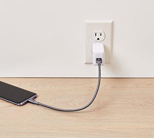 Amazon Basics, USB-Kabel mit doppelter Nylon-Schirmung, TypC auf TypA, USB3.1 Gen 2 (USB-IF-zertifiziert), unterstützt hohe Datenübertragungsraten bis zu 10Gbit/s, 0,3 Meter, Dunkelgrau