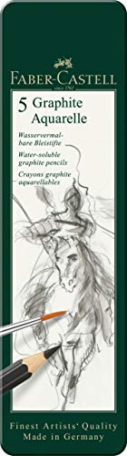 Faber-Castell 117805-5 Aquarellbleistifte Graphite Aquarelle, Inhalt HB, 2B, 4B, 6B, 8B, mehrfarbig, 5er