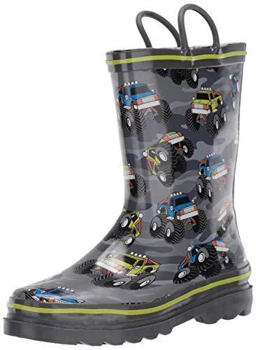 Western Chief Boy's Waterproof Printed Rain Boot, Monster Crusher, 9-10 M US Toddler
