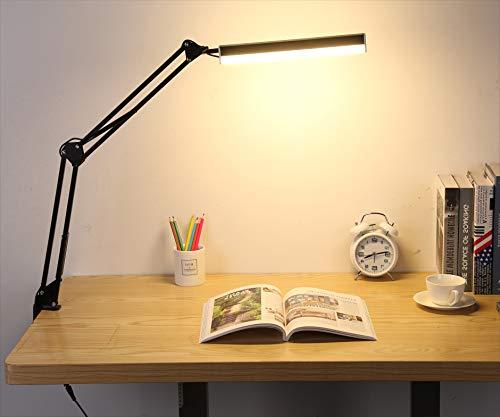 LMIX Schreibtischlampe Schwenkarm Klemmer, 3 Farbe Dimmbar Augenschutz mit Klemmfuß Bürolampe Touch & Fernbedienung
