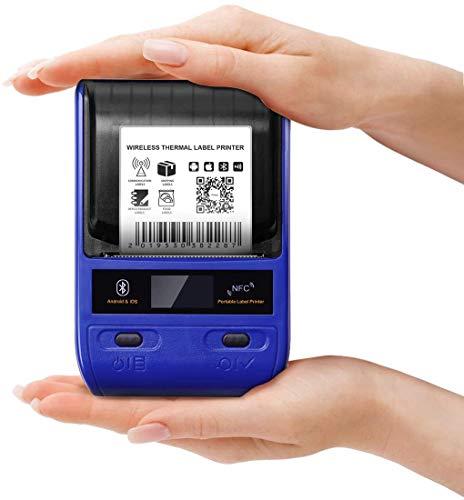 IQQI Impresora Etiquetas, Portátil Fabricante de Etiquetas Térmicas Bluetooth Se Aplican a Office Etiquetado de Cables al por Menor Código de Barras y Más Compatible
