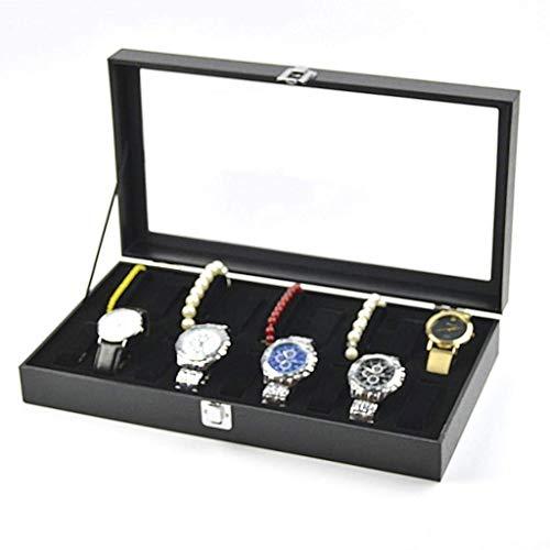 CCAN Organizador de Caja de Reloj para Hombres Caja de exhibición de Reloj de Cuero PU Hebilla de Metal para Soporte de Reloj Interesting Life