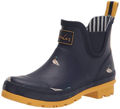 Joules Women's Wellington Welly Boot, Navy Ducks, 8
