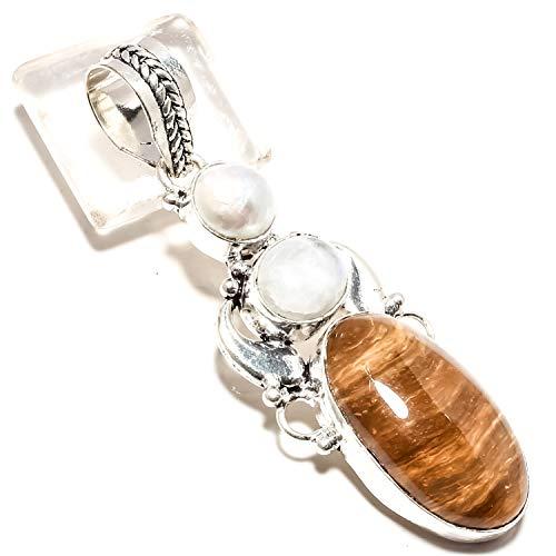 jewels paradise Colgante de ágata marrón y Piedra Lunar arcoíris, Piedra Preciosa de Perla Hecha a Mano en Plata de Ley 925 (SF-2317)