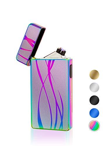 TESLA Lighter T13 Lichtbogen-Feuerzeug, elektronisches USB Feuerzeug, Double-Arc Lighter, wiederaufladbar, Regenbogen Linien