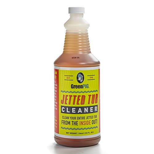 GREEN PIG Jetted Tub Cleaner is an Enzymatic Formula that Cleans Your Tub, Jets and Pipes from the Inside Out, Bio-degradable, Non-toxic, Septic Safe, 1 Quart