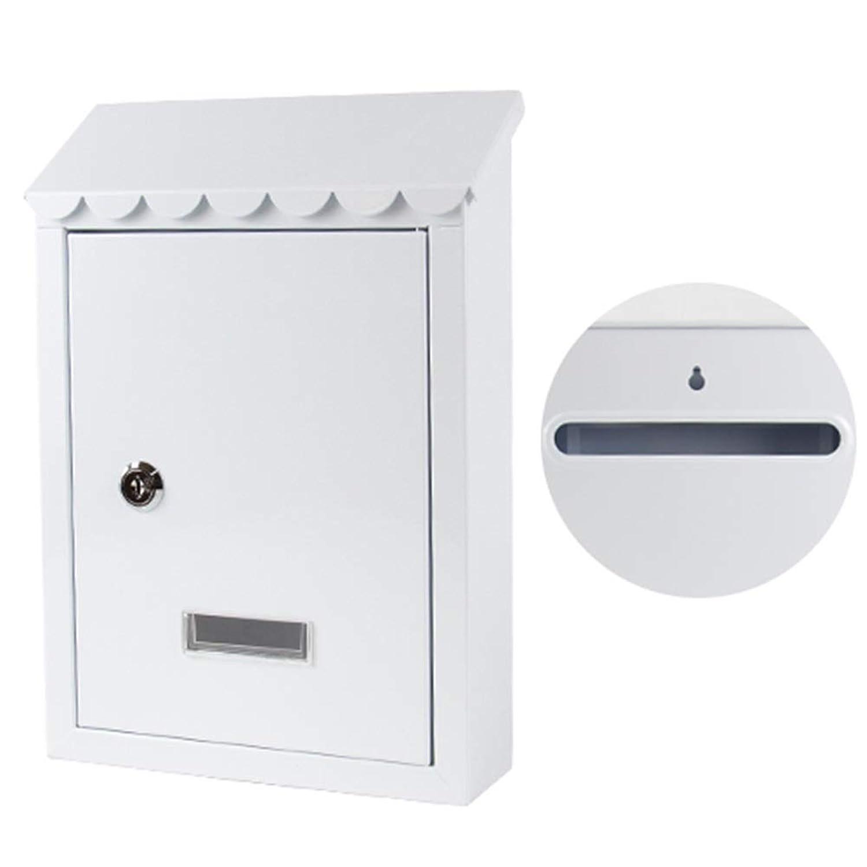 TINGTING 郵便受けア メールボックス ロック付き ヨーロッパ風の田舎の壁ロックで屋外吊り下げ式ビジュアルウィンドウ2キー (色 : 白, サイズ さいず : 21*6*30.5cm)