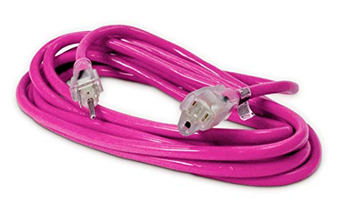 15-ft 14/3 Heavy Duty Lighted SJTW Indoor/Outdoor Extension Cord by Watt's Wire - Pink 15' 14-Gauge Grounded 15-Amp Three-Prong Power-Cord (15 foot 14-Awg)