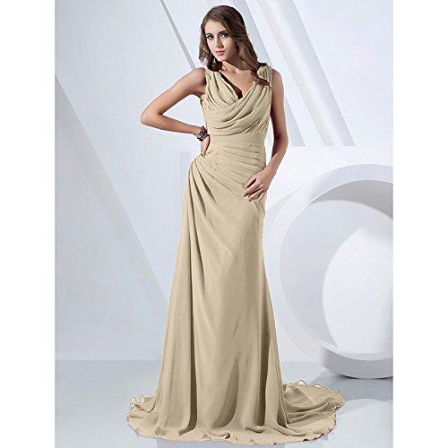 kekafu Mantel/Spalte V-Ausschnitt Wasserfallausschnitt Sweep/Pinsel Zug Chiffon formeller Abend Kleid mit seitlichen Drapieren von TS, Champagner, US22W/UK 26 / EU 52 (+ USD $ 8.99)