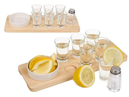 Kamaca Tequila Shot Glas Geschenk Set 9 teilig Holzbrettt mit 6 Gläsern Salzstreuer Steingut-Schale perfekte Geschenkidee Geburtstag Party (Tequila Servier-Set)