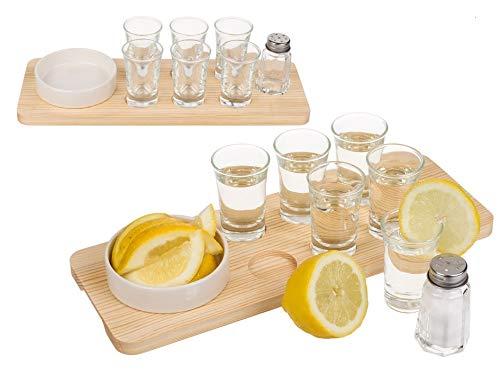 Kamaca Tequila Shot - Set regalo in vetro, 9 pezzi, tagliere in legno con 6 bicchieri, ciotola in grès, perfetta idea regalo per compleanno e feste (set da servizio Tequila)