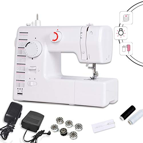 Naaimachine voor beginners, draagbaar, professionele naaimachine voor reparatie van handwerk, elektrisch verstelbaar met pedaal (wit) -12.31