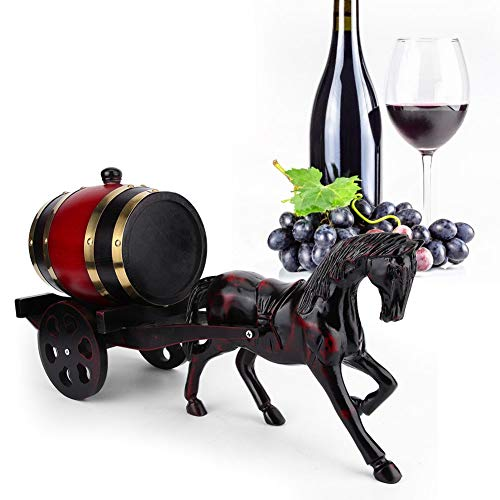Barril de vino Barril de vino de roble: 1,5 L Forma única de carro tirada por caballos Barril de vino de roble Kit de contenedor de barril Ornamento Rojo