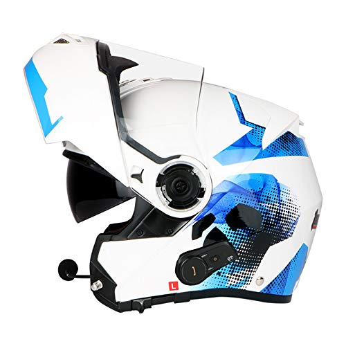 ZLYJ Bluetooth Cascos De Motocicleta Abatibles, Visores Completos De Doble Visera Cascos De Motocicleta Modulares Altavoz Incorporado Micrófono De Auricular, Certificación ECE B,L(58-60cm)