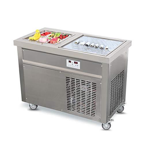 CE ROHS 50 x 50 cm Einzelne quadratische Pfanne + 6 Vorkühltanks Fry Ice Cream Rollmaschine Rolle Eismaschine Frittiereismaschine mit vollständiger Wiederverwendung