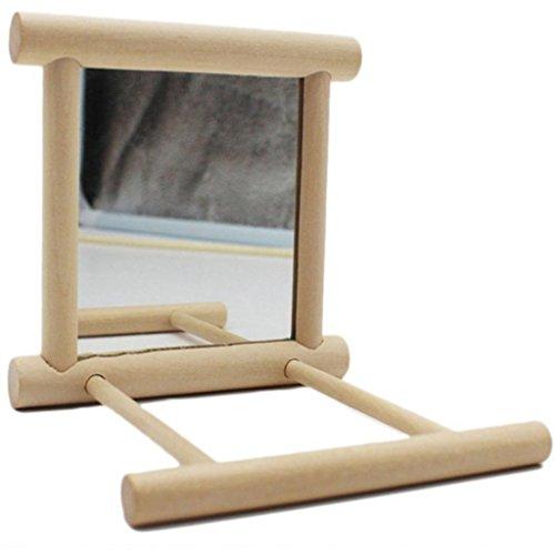Hearbeauty, piattaforma in legno con specchio per pappagalli, ideale come gioco