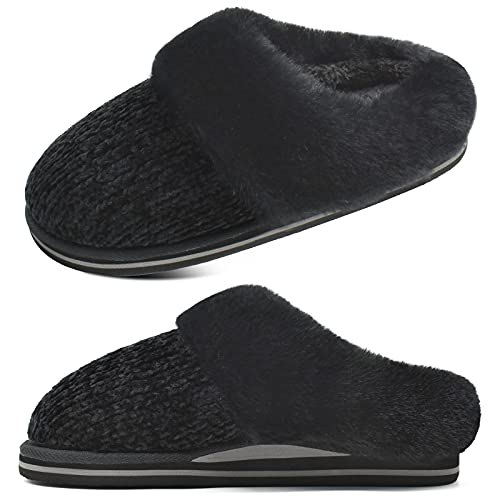 jiajiale Damen Plüsch Hausschuhe Winter Warme Bequeme Memory Foam Chenille House Flauschige Schuhe mit Dickem Yogaschaum Fußbett für Innen Außen Schwarz EU40