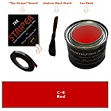 Automotive Pinstriping KIT - Stencil/Brush/Paint - Pinstripe Your Car/Truck - Results: 5/32 inch Stripe, 5/32 inch Space, 1/16 inch Stripe (Red, 42 Foot roll)