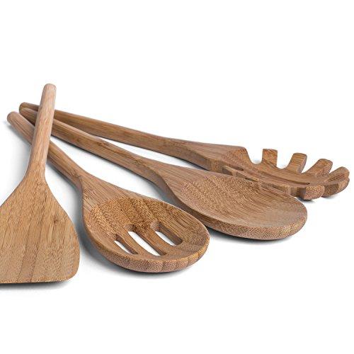 basil | Utensili per Cucina in bambù - Miglior Kit Posate Ecologiche per Cucinare e Servire - Set Cucina di 4 Pezzi Riutilizzabili con Cucchiaio in Legno, Spatola, Utensile per Pasta e Mestolo