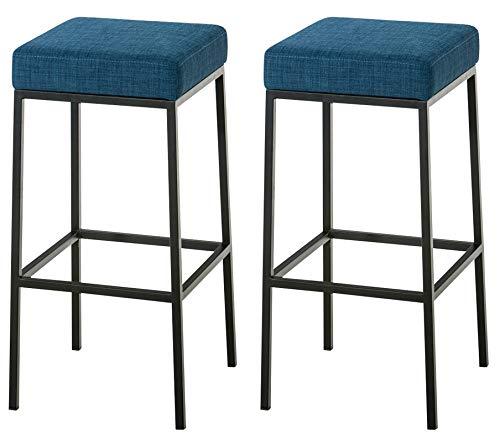 Set De 2 Taburetes De Bar Montreal Tapizados En Tela I 2 Sillas Altas Con Reposapiés & Con 85 cm De Altura De Asiento I Color:, Color:azul, Color del marco:negro