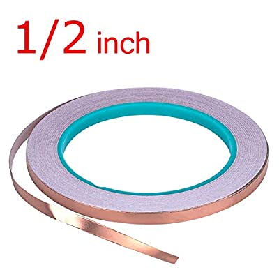 Zehhe Copper Foil Tape with Double-Sided Conductive - EMI Shielding,Stained Glass,Soldering,Electrical Repairs,Slug Repellent,Paper Circuits,Grounding