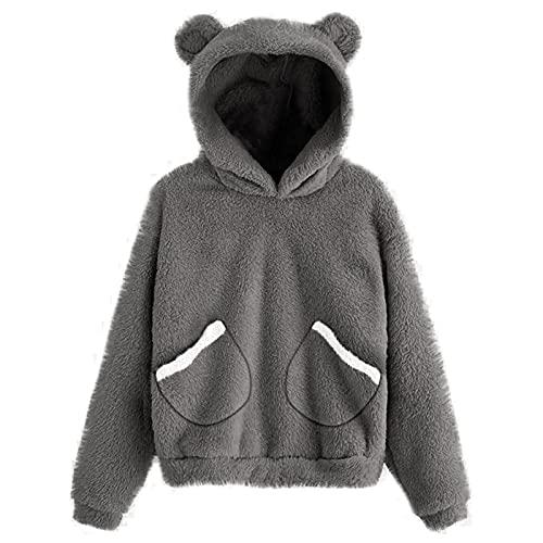 Cute Fleece Hooded Sweatshirt for Women Bear Shape Plus Size Fuzzy Long Sleeve Tops Hoodie Teen Girls Comfy Soft Slim Warm Pullover(Dark Gray,Small)