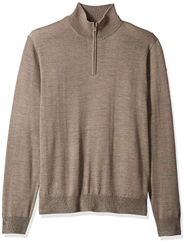 Amazon Brand - Goodthreads Men's Lightweight Merino Wool Quarter Zip Sweater, Light Brown, Medium Tall